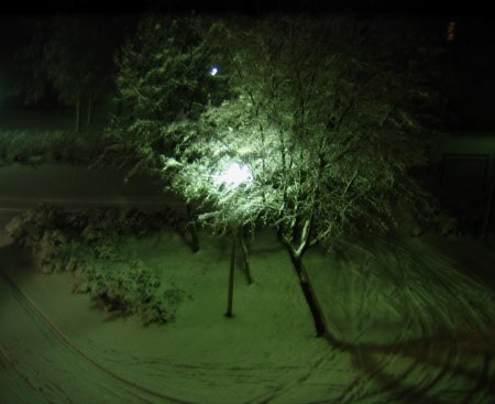A snowy, dark Finnish evening